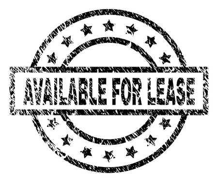 AVAILABLE FOR LEASE stamp seal watermark with distress style. Designed with rectangle, circles and stars. Black vector rubber print of AVAILABLE FOR LEASE caption with dust texture.
