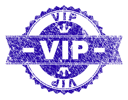 VIP rosette stamp seal overlay with grunge style. Designed with round rosette, ribbon and small crowns. Blue vector rubber watermark of VIP title with retro style. 일러스트