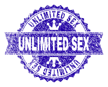 UNLIMITED SEX rosette seal overlay with distress style. Designed with round rosette, ribbon and small crowns. Blue vector rubber watermark of UNLIMITED SEX caption with corroded style.