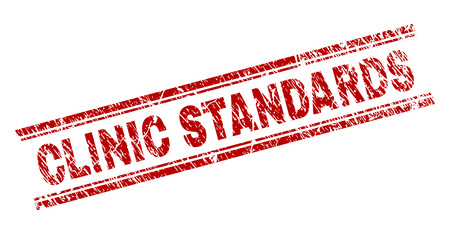 CLINIC STANDARDS seal print with grunge texture. Red vector rubber print of CLINIC STANDARDS text with retro texture. Text label is placed between double parallel lines.