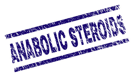 ANABOLIC STEROIDS seal print with grunge style. Blue vector rubber print of ANABOLIC STEROIDS text with dirty texture. Text label is placed between parallel lines.