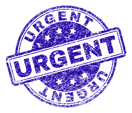 URGENT stamp seal watermark with distress texture. Designed with rounded rectangles and circles. Blue vector rubber print of URGENT label with scratched texture.