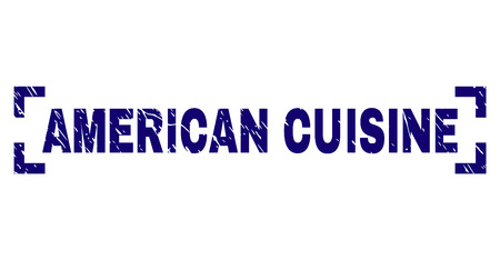 AMERICAN CUISINE title seal stamp with corroded texture. Text caption is placed between corners. Blue vector rubber print of AMERICAN CUISINE with corroded texture. Illustration
