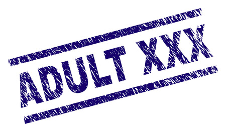 ADULT XXX seal stamp with distress style. Blue vector rubber print of ADULT XXX title with dust texture. Text title is placed between parallel lines.