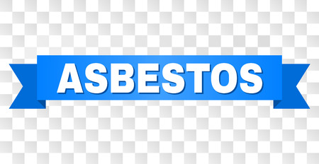 ASBESTOS text on a ribbon. Designed with white caption and blue stripe. Vector banner with ASBESTOS tag on a transparent background.