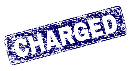 CHARGED stamp seal print with distress style. Seal shape is a rounded rectangle with frame. Blue vector rubber print of CHARGED title with corroded style. Vektoros illusztráció