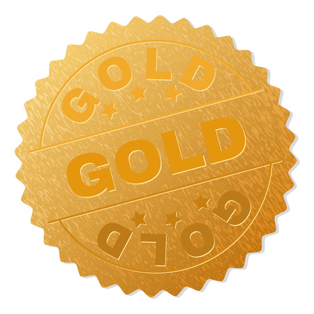 GOLD stamp badge. Vector golden medal with GOLD text. Text labels are placed between parallel lines and on circle. Golden skin has metallic texture.