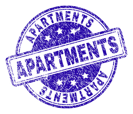 APARTMENTS stamp seal imprint with grunge texture. Designed with rounded rectangles and circles. Blue vector rubber print of APARTMENTS caption with grunge texture. Illustration