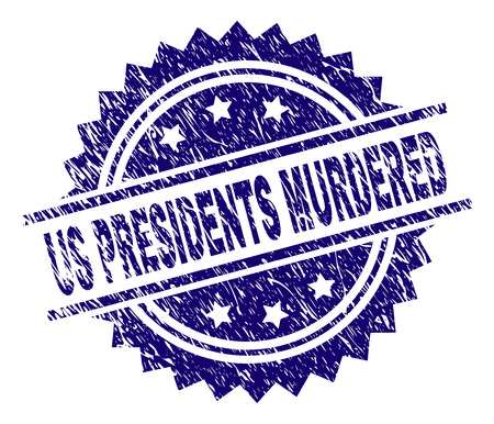 US PRESIDENTS MURDERED stamp seal watermark with distress style. Blue vector rubber print of US PRESIDENTS MURDERED tag with dust texture. Stock Illustratie