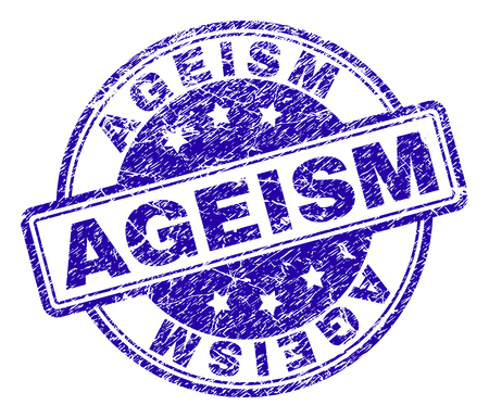 AGEISM stamp seal watermark with grunge texture. Designed with rounded rectangles and circles. Blue vector rubber print of AGEISM label with corroded texture.