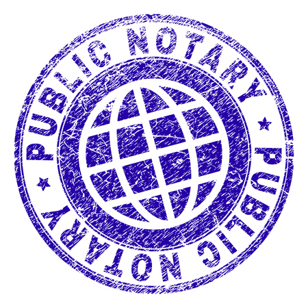 PUBLIC NOTARY stamp imprint with grunge texture. Blue vector rubber seal imprint of PUBLIC NOTARY tag with scratched texture. Seal has words arranged by circle and globe symbol.