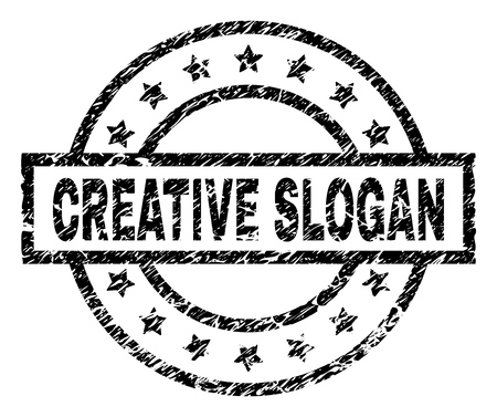 CREATIVE SLOGAN stamp seal watermark with distress style. Designed with rectangle, circles and stars. Black vector rubber print of CREATIVE SLOGAN tag with unclean texture.
