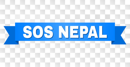 SOS NEPAL text on a ribbon. Designed with white title and blue stripe. Vector banner with SOS NEPAL tag on a transparent background. Illustration