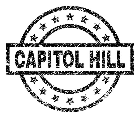 CAPITOL HILL stamp seal watermark with distress style. Designed with rectangle, circles and stars. Black vector rubber print of CAPITOL HILL text with scratched texture. Illustration