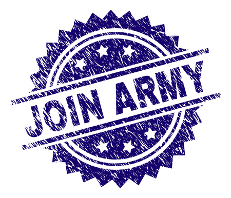 JOIN ARMY stamp seal watermark with distress style. Blue vector rubber print of JOIN ARMY text with scratched texture.