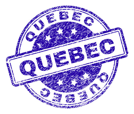 QUEBEC stamp seal watermark with grunge texture. Designed with rounded rectangles and circles. Blue vector rubber print of QUEBEC caption with unclean texture.