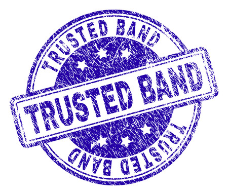 TRUSTED BAND stamp seal imprint with distress texture. Designed with rounded rectangles and circles. Blue vector rubber print of TRUSTED BAND tag with retro texture.