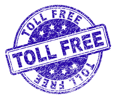 TOLL FREE stamp seal imprint with grunge texture. Designed with rounded rectangles and circles. Blue vector rubber print of TOLL FREE text with grunge texture.