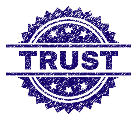 TRUST stamp seal watermark with distress style. Blue vector rubber print of TRUST caption with corroded texture.