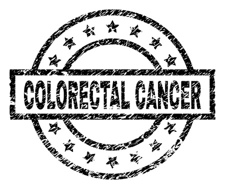 COLORECTAL CANCER stamp seal watermark with distress style. Designed with rectangle, circles and stars. Black vector rubber print of COLORECTAL CANCER text with dust texture.