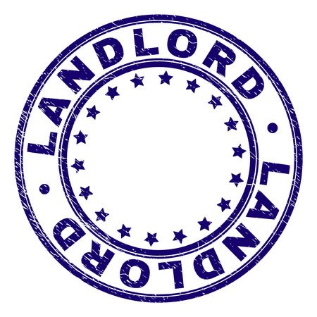 LANDLORD stamp seal imprint with grunge texture. Designed with round shapes and stars. Blue vector rubber print of LANDLORD caption with dust texture.