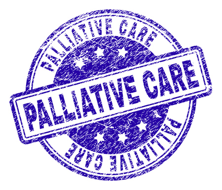 PALLIATIVE CARE stamp seal watermark with distress texture. Designed with rounded rectangles and circles. Blue vector rubber print of PALLIATIVE CARE title with dust texture. Illustration