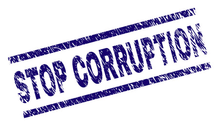 STOP CORRUPTION seal print with grunge style. Blue vector rubber print of STOP CORRUPTION caption with corroded texture. Text caption is placed between parallel lines. Illustration