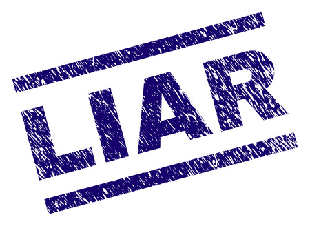LIAR seal print with grunge style. Blue vector rubber print of LIAR caption with dust texture. Text caption is placed between parallel lines. Banque d'images - 114517484