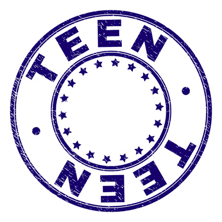 TEEN stamp seal watermark with grunge texture. Designed with round shapes and stars. Blue vector rubber print of TEEN text with corroded texture. 矢量图像