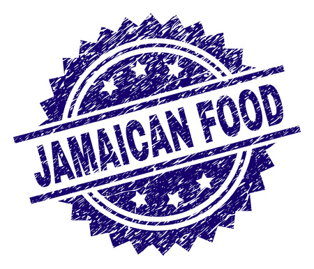 JAMAICAN FOOD stamp seal watermark with distress style. Blue vector rubber print of JAMAICAN FOOD title with grunge texture.