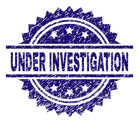UNDER INVESTIGATION stamp seal watermark with distress style. Blue vector rubber print of UNDER INVESTIGATION caption with scratched texture.  イラスト・ベクター素材