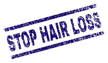 STOP HAIR LOSS seal imprint with scratced style. Blue vector rubber print of STOP HAIR LOSS title with retro texture. Text title is placed between parallel lines.