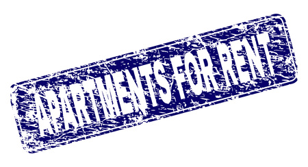 APARTMENTS FOR RENT stamp seal print with grunge style. Seal shape is a rounded rectangle with frame. Blue vector rubber print of APARTMENTS FOR RENT title with corroded style.