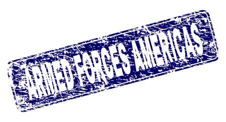 ARMED FORCES AMERICAS stamp seal print with distress style. Seal shape is a rounded rectangle with frame. Blue vector rubber print of ARMED FORCES AMERICAS title with dirty style.