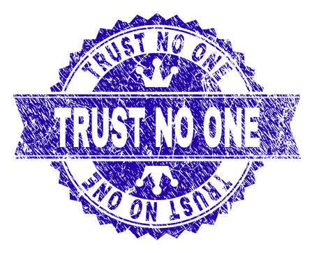 TRUST NO ONE rosette seal watermark with distress style. Designed with round rosette, ribbon and small crowns. Blue vector rubber watermark of TRUST NO ONE tag with dirty style.