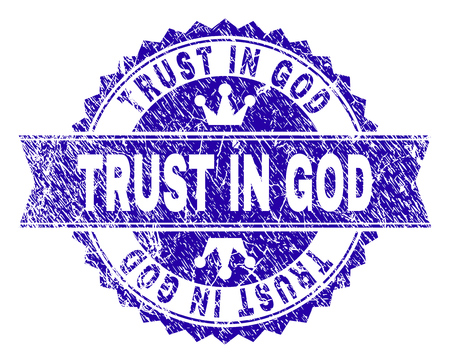 TRUST IN GOD rosette seal watermark with distress effect. Designed with round rosette, ribbon and small crowns. Blue vector rubber watermark of TRUST IN GOD text with dust style.