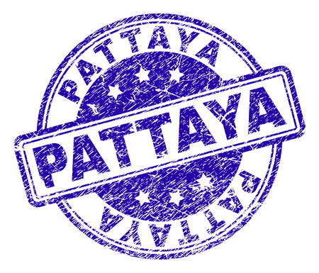 PATTAYA stamp seal imprint with grunge texture. Designed with rounded rectangles and circles. Blue vector rubber print of PATTAYA tag with grunge texture.  イラスト・ベクター素材
