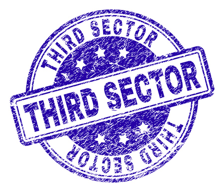THIRD SECTOR stamp seal imprint with grunge texture. Designed with rounded rectangles and circles. Blue vector rubber print of THIRD SECTOR tag with corroded texture.