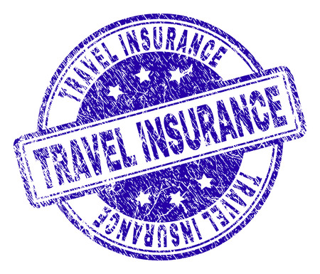 TRAVEL INSURANCE stamp seal watermark with distress texture. Designed with rounded rectangles and circles. Blue vector rubber print of TRAVEL INSURANCE tag with scratched texture.