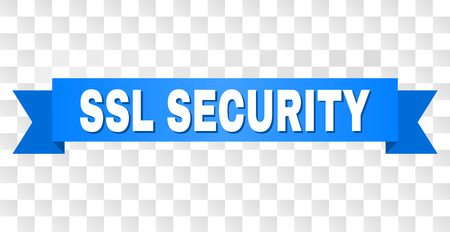 SSL SECURITY text on a ribbon. Designed with white caption and blue tape. Vector banner with SSL SECURITY tag on a transparent background. Illustration