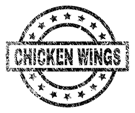 CHICKEN WINGS stamp seal watermark with distress style. Designed with rectangle, circles and stars. Black vector rubber print of CHICKEN WINGS title with corroded texture.