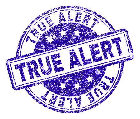 TRUE ALERT stamp seal watermark with grunge texture. Designed with rounded rectangles and circles. Blue vector rubber print of TRUE ALERT title with grunge texture.