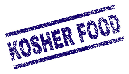 KOSHER FOOD seal imprint with scratced style. Blue vector rubber print of KOSHER FOOD text with retro texture. Text label is placed between parallel lines.