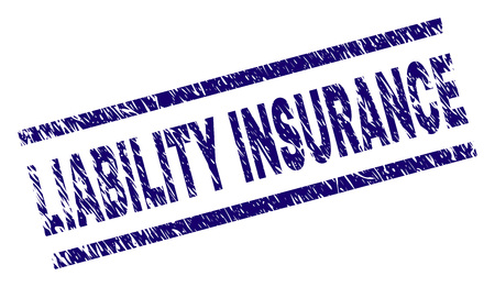 LIABILITY INSURANCE seal stamp with distress style. Blue vector rubber print of LIABILITY INSURANCE label with unclean texture. Text label is placed between parallel lines. Illustration