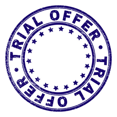 TRIAL OFFER stamp seal imprint with distress texture. Designed with round shapes and stars. Blue vector rubber print of TRIAL OFFER text with dust texture.