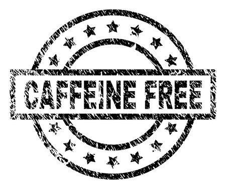 CAFFEINE FREE stamp seal watermark with distress style. Designed with rectangle, circles and stars. Black vector rubber print of CAFFEINE FREE tag with dirty texture.