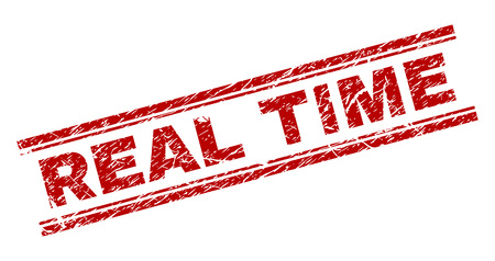 REAL TIME seal watermark with corroded texture. Red vector rubber print of REAL TIME title with corroded texture. Text title is placed between double parallel lines.