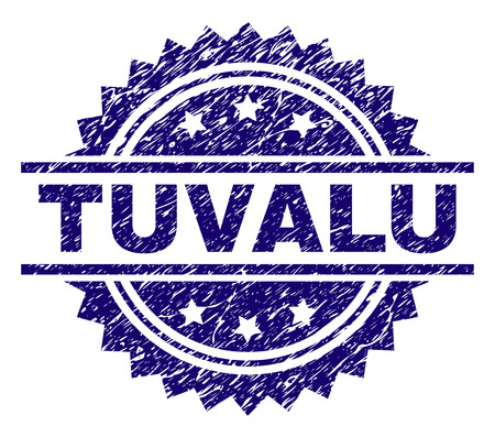 TUVALU stamp seal watermark with distress style. Blue vector rubber print of TUVALU tag with dust texture. Illusztráció