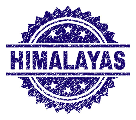 HIMALAYAS stamp seal watermark with distress style. Blue vector rubber print of HIMALAYAS text with unclean texture. Illustration