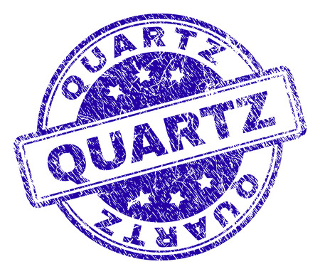 QUARTZ stamp seal watermark with distress texture. Designed with rounded rectangles and circles. Blue vector rubber print of QUARTZ tag with retro texture.